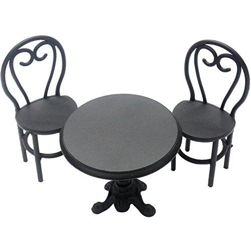 FUNSHOWCASE ジオラマ おもちゃ テーブル 椅子 黒 手作り ミニチュア インテリア ドールハウスキット