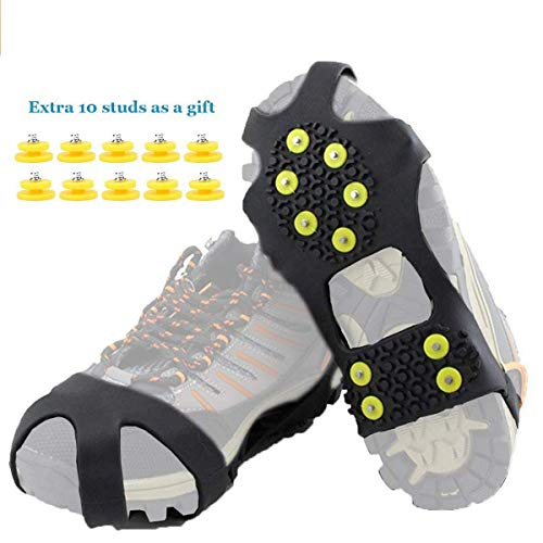HoFire Ice Cleats, Ice Grips Traction Cleats Grippers Non-Slip Over Shoe/Boot Rubber Spikes Crampons Anti Easy Slip 10 Steel Studs Crampons Slip-on Stretch Footwear (10-Studs-Black, L)