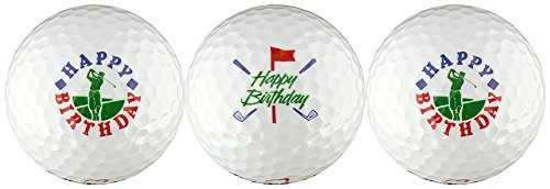 Happy Birthday w/ Golfer & Clubs Golf Ball Gift Set