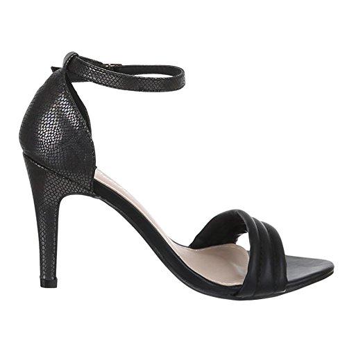 Sandalettes femme Sandales Noir Design Ital fpxq7Ewax