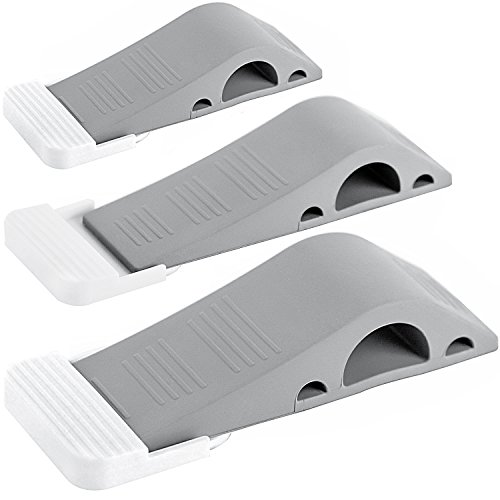 Wundermax Decorative Door Stopper With Free Bonus Holders - Door Stop Works on All Floor Surfaces - Premium Rubber Door Stops - The Original (3 - gray)