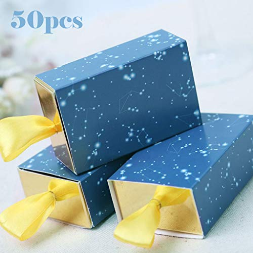 Maikouhai 50Pcs Sweet Married Wedding Favor Gift Boxes Candy Paper Party Starry Box, 8x6x5cm]()