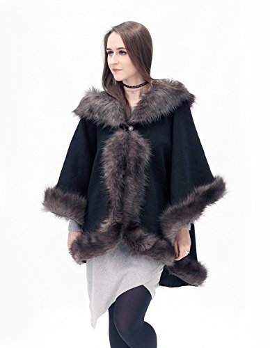 Elegant black and dark brown half-woolen cloak with high quality faux fur by ScarecrowStudio