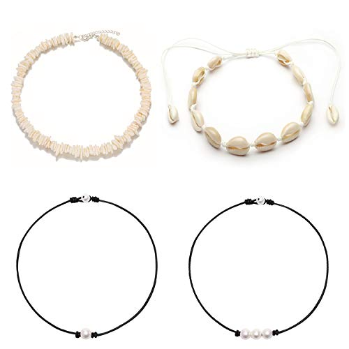 (Wremily Natural Cowrie Shell Choker Necklace and Pearls Necklace Set for Women Girls, Handmade Adjustable Hawaiian Puka Seashell Beads Collar Necklace Summer Beach Jewelry Set, 4 Pcs)