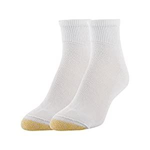 Gold Toe Women's Super Soft Non-Binding Quarter Socks, 2 Pairs, White, Shoe Size: 6-9