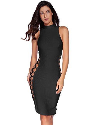 meilun Women's Rayon Lace Up Contour Bodycon Bandage Dress Black XS