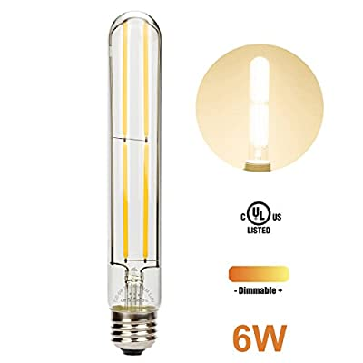 Leadleds Edison Bulb Dimmable with Long Filament LED, T10 Tubular E26 Medium Base 60 Watt Incandescent Bulb Equivalent 2700K Warm White