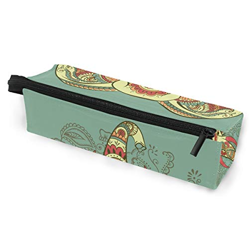 (KEAKIA Elephant On The Henna Indian Pencil Case Zipper Eyeglasses Case Sunglasses Pouch Cosmetic Bags with Hanging Loop)