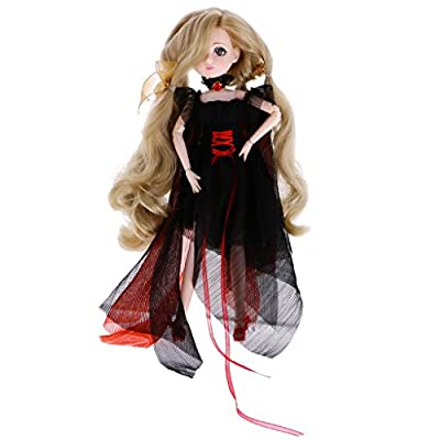 MagiDeal Flexible 30 Joints BJD Jointed Body Doll in Black Dress Making Postures Kids Toy Birthday Gift Collectibles