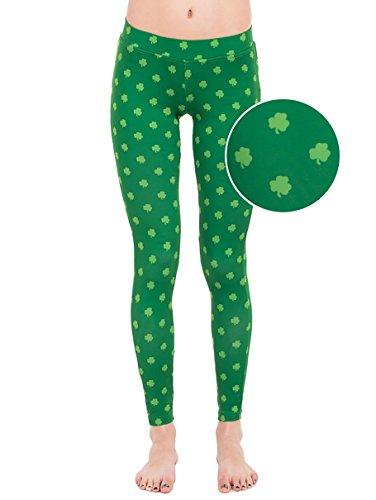 Tipsy Elves Green Clover Leggings - ST. Patrick's Day Leggings: Medium
