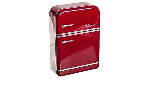 Dcasa - Caja metal nevera vintage roja .: Amazon.es: Hogar