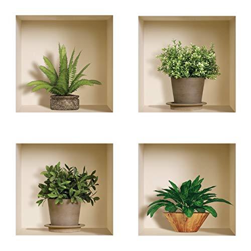 The Nisha Art Magic 3D Vinyl Removable Wall Sticker Decals DIY, Set of 4, Green and Brown Plants ()