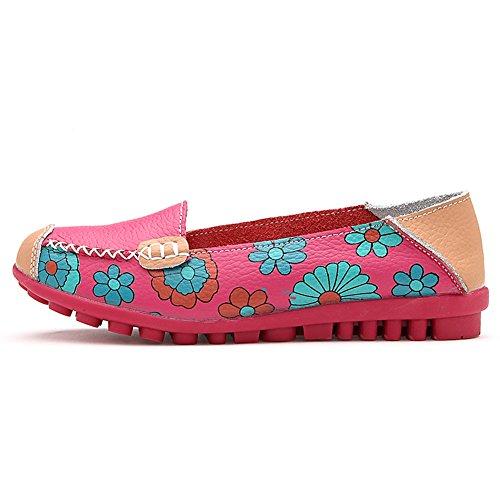 Damen Mokassin Bootsschuhe Leder Loafers Schuhe Maedchen Flache Fahren Halbschuhe Slippers Rose