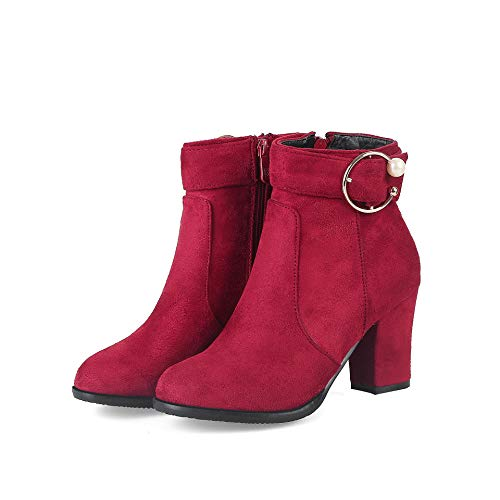 Tacco Tacco a e Basso Donna Red con Warm CXQ CXQ Stivali da Tacco Stivaletti Punta AYnwSzxq6