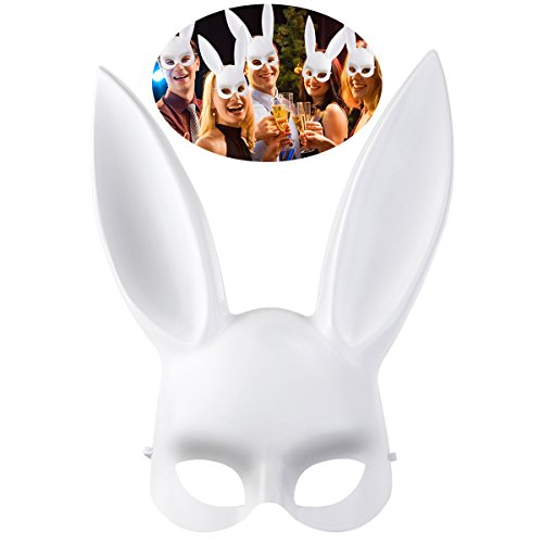 Female Bunny Costumes (OULII Men Women Masquerade Bunny Rabbit Mask Halloween Costume Accessory, Easter gift or Birthday Gift for Children)