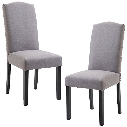 ZXBSWELE Urban Style Linen Fabric Dining Room Chair with Solid Wood Legs Set of 2, Grey