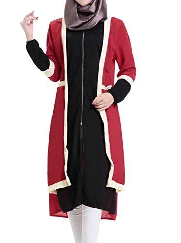 Confortables Femmes Musulmanes Abaya Col Ras Du Cou À Manches Longues Robe Grande Pendule Noire