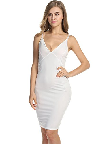 Short Style2 Women's Party Midi Sweetheart Dress Slim Sleeve Classic Sexy white Beyove Fit 1tqwaf1