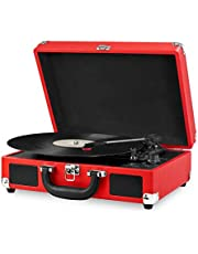 Innovative Technology Vintage 3 Speed Bluetooth Suitcase Turntable with Speakers, Red
