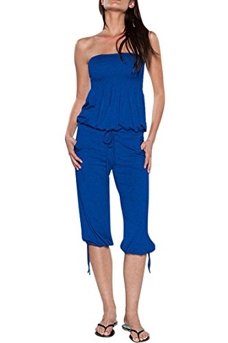 VamJump Women 2019 Casual Tube Top Drawstring Capri Rompers and Jumpers Blue