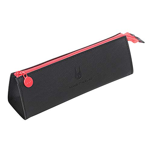 Leather Triangle Pencil Case, Storage Box, Large Capacity Solid Color Zipper Pen Case, for School, Work, Personal Small Items Cosmetics Storage by Molshine ()