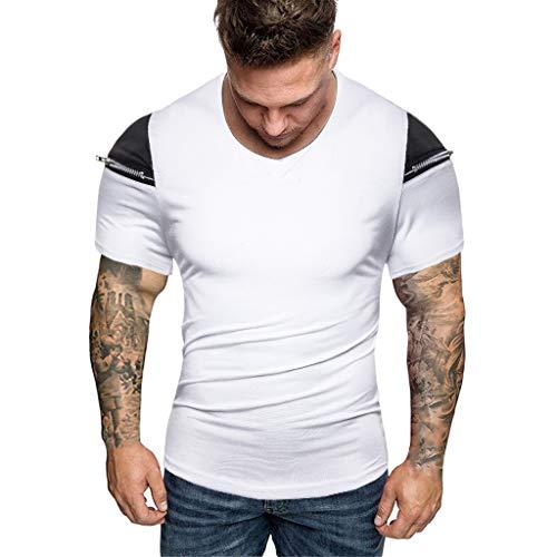 Mens Zipper Pure Color Splicing Pattern Casual Fashion Short Sleeve Shirt White