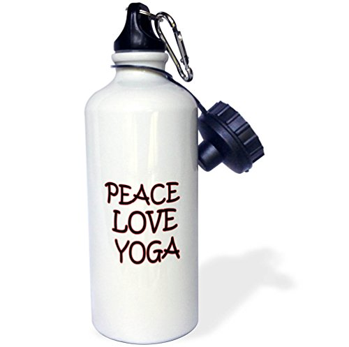3dRose RinaPiro - Fitness Quotes - Peace. Love. Yoga. Gym. Fitness club. Sport. Exercise. - 21 oz Sports Water Bottle (wb_261353_1) by 3dRose