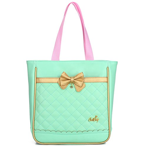 Waterproof Pu Leather Backpacks for Girls Cute Bowknot Kids Bookbags (Single Handbag, Green)