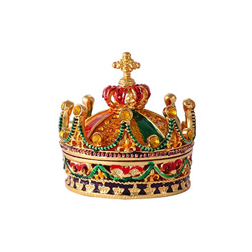 QIFU Crown Series Hand Painted Hinged Jewelry Trinket Box with Rich Enamel and Sparkling Rhinestones | Unique Gift Home Decor | Best Ornament Your ()
