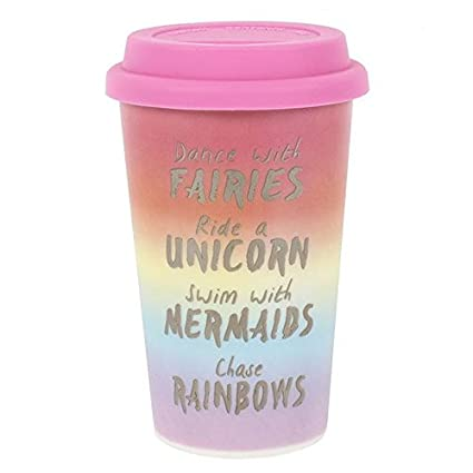 0911cf001e4 Rainbow Metallic Thermal Travel Mug, Ceramic, Insulated Rubber Lid, H:13.50  x W:8.70 x D:11.30: Amazon.co.uk: Kitchen & Home