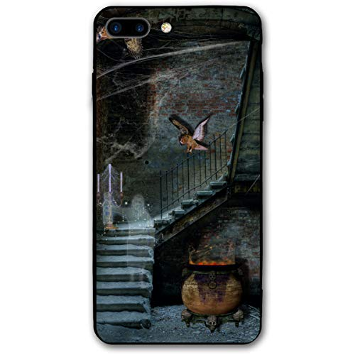 Halloween Magic Stove Stairs Spider Web Owl iPhone 8 Plus Case, iPhone 7 Plus Case, Ultra Thin Lightweight Cover Shell, Anti Scratch Durable, Shock Absorb Bumper Environmental Protection Case Cover -