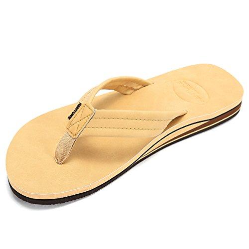 FANTURE Mens Flip Flops Arch Support Sandals Indoor and Outdoor Slipper,U418WSCHTX,Khaki,42