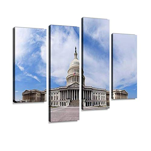 (US Capitol - Government Building Canvas Wall Art Hanging Paintings Modern Artwork Abstract Picture Prints Home Decoration Gift Unique Designed Framed 4 Panel)