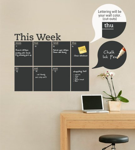 wall decal for office.  Office Weekly Chalkboard Calendar  Wall Decal To For Office