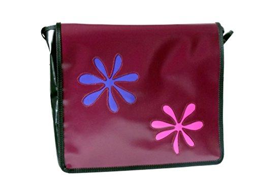 Schultertasche Blumen Lila,Pink,Schwarz,Aubergine H 30, B 32, T 11
