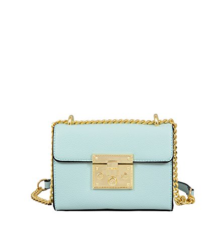 Mellow World Women's Emily Hb17247, Vegan Leather Clutch Crossbody Bag, Chain Strap Push Lock Closure Cross Body, Mint, One Size