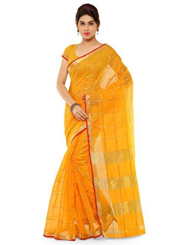 Latest Kvsfab Women's New Latest Bollywood Cotton Silk Saree Free Size Yellow Saree 5
