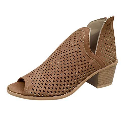 Goddessvan Women Flats Sandals Boots, Low Heel Open Toe Sandals Shoes Slides Slip-On Outdoors Retro Booties Brown