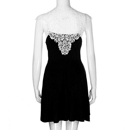 vestidos de mujer,Switchali Mujer verano Atractivo Sin mangas Vestido de oficina moda encaje Labor de retazos Mini Vestido de fiesta por la noche linda ropa para mujer Negro