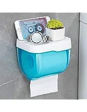 Geen boren muur gemonteerd wc-papier houder, wc-rolhouder waterdichte weefseldoos voor thuis Hotel school wc-papier standaard 15.2x13x12.5cm(6x5x5inch) Blauw