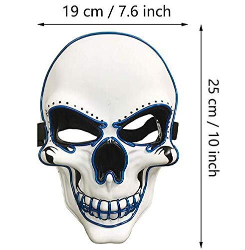 Yostyle Halloween Scary Mask Cosplay Decorations Led Costume Mask EL Wire Light up for Halloween Festival Party