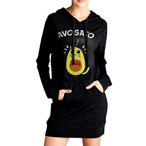 7981b85ae Women's AVO-Gato Avocado Cat Casual Hoodie Sweatshirt Dresses Loose Sweater  Shirt with Pockets