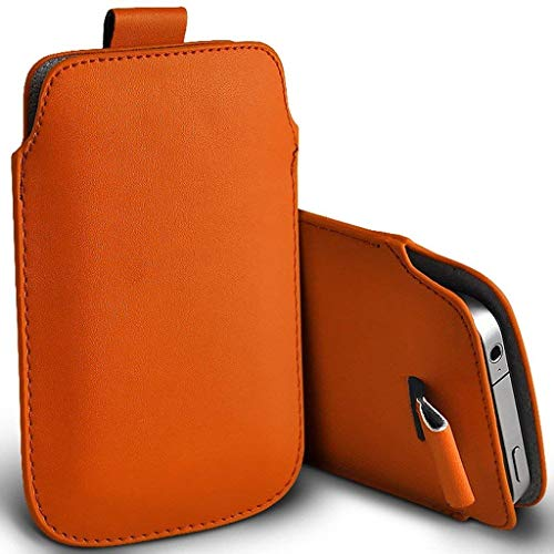 Leather Case Custom Pouch (I-Sonite (Orange) Premium Slip in Pull Tab Sleeve Faux Leather Pouch Case Cover for BLU Dash G [ XXL ])