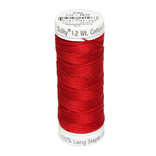 - Sulky Of America 12wt Cotton Petites Thread, 50 yd, True Red