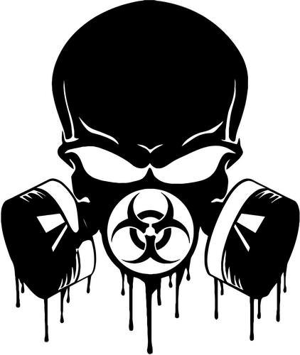 Biohazard Respirator Gas Mask Skull Decal Sticker Car Motorcycle Truck Bumper Window Laptop Wall Décor Size- 15 Inch Tall Gloss White -