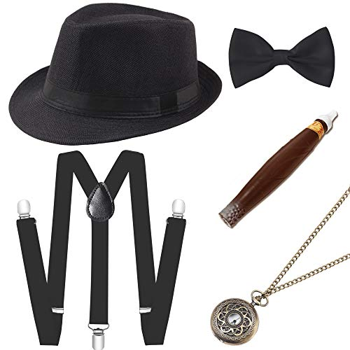 BABEYOND 1920s Mens Gatsby Costume Accessories Set 30s Panama Hat Elastic Y-Back Suspender Pre Tied Bow Tie Pocket Watch and Plastic Cigar (Black Set) ()