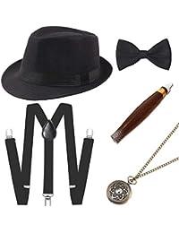 03533865869 1920s Mens Gatsby Gangster Costume Accessories Set Panama Hat Suspender