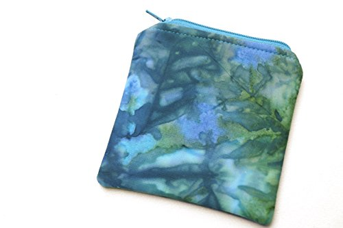 Batik Fabric Zipper Mini Pouch or Coin Purse in Blue and Green by My Bit Of Wonder
