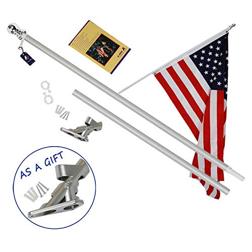 A-One 6Ft Tangle Free Spinning Flagpole Deluxe Aluminum Amer