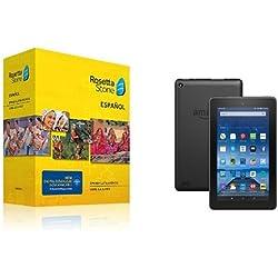 "Learn Spanish: Rosetta Stone Spanish (Latin America) - Level 1-5 Set with Fire Tablet, 7"" Display, Wi-Fi, 16 GB"